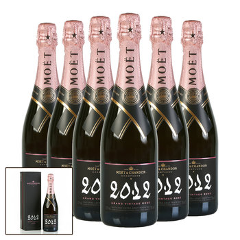 Moët & Chandon Grand Vintage Rosé 2012, 6 x 75cl with Gift Boxes