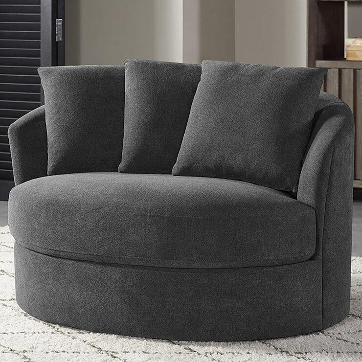 Thomasville Dark Grey Fabric Swivel, Spinning Sofa Chair