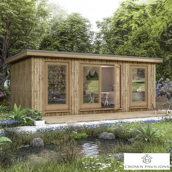 "Installed Crown Pavilions 19ft 8"" x 13ft 1"" (6 x 4m) Hardwood Garden Room, Fully Insulated, Double Glazed and Pre-Wired"