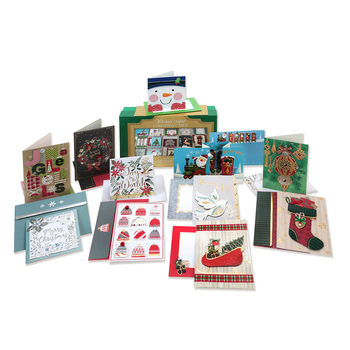 30 Handcrafted Christmas Greetings Cards in Keepsake Box (30 Cards)