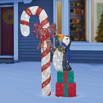 6ft (1.8m) LED Christmas Penguin With Candy Cane