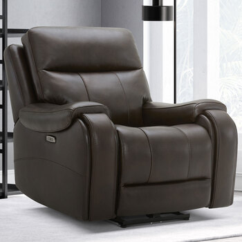 Gilman Creek Morgan Brown Leather Power Recliner with Power Headrest