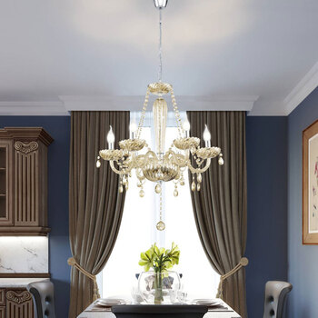 Eglo Basilano 6 Light Chandelier in Polished Chrome and Cognac Glass