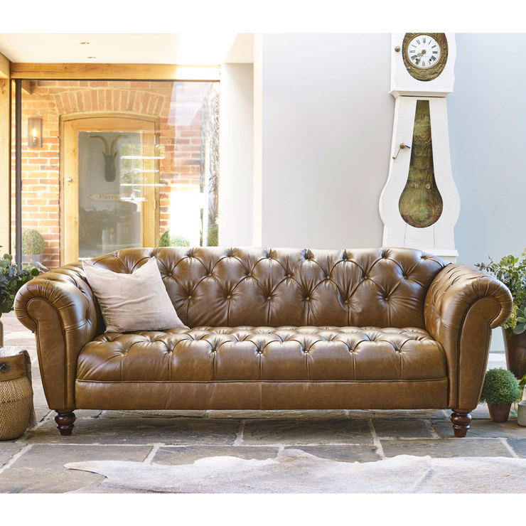 Genial Wellington 3 Seater Semi Aniline Leather Chesterfield Sofa, Caramel