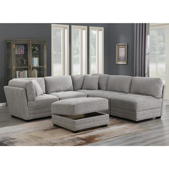 Mstar International Norris 6 Piece Modular Fabric Sectional Sofa with Storage Ottoman
