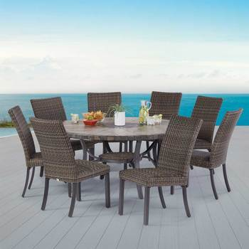 Agio Springdale 9 Piece Woven Dining Set + Cover