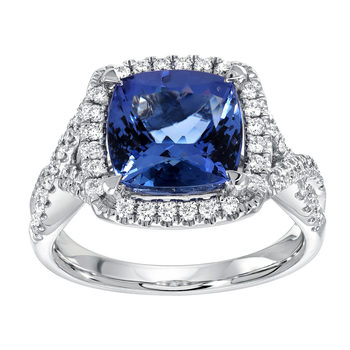 2.95ctw Cushion Cut Tanzanite and 0.36ctw Diamond Ring, 18ct White Gold
