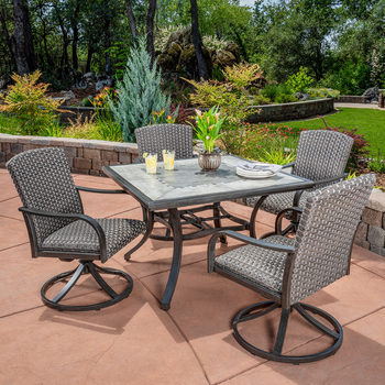 SunVilla Drexel 5 Piece Woven Rocker Dining Set + Cover