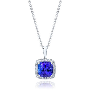 2.00ct Cushion Cut Tanzanite and 0.13ctw Round Brilliant Cut Diamond Pendant, 14ct White Gold
