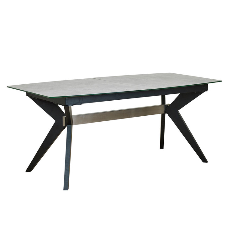 Soho Glass Extending Concrete Effect Dining Table 6 Grey