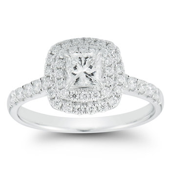 1.00ctw Princess and Round Brilliant Cut Diamond Ring, 18ct White Gold