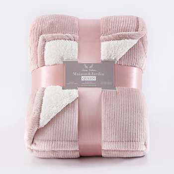 Maison & Jardin King Size Velvet Sherpa Blanket Available in 2 Colours
