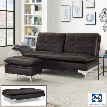 Sealy Brown Convertible Eurolounger with Storage Ottoman
