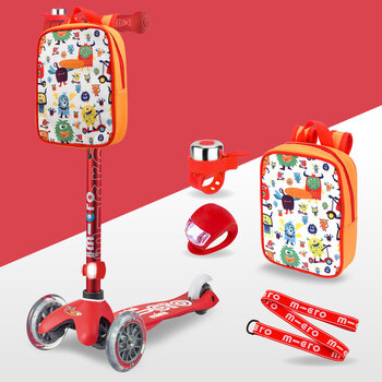 Micro Mini Scooter Deluxe Gift Set Bundle in Red (2+ Years)
