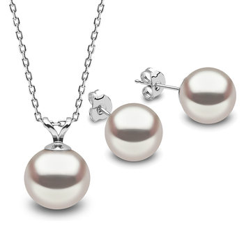 9.5-10mm Cultured Freshwater White Pearl Necklace and 8.5-9mm Stud Earrings Set, 18ct White Gold