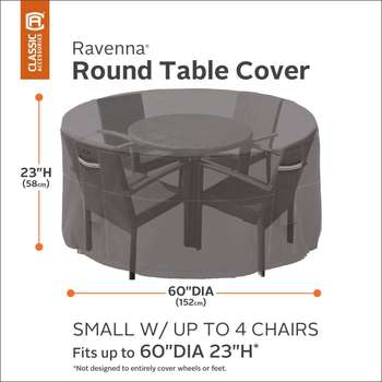 Classic Accessories Ravenna Round Patio Table and Chair Set Cover