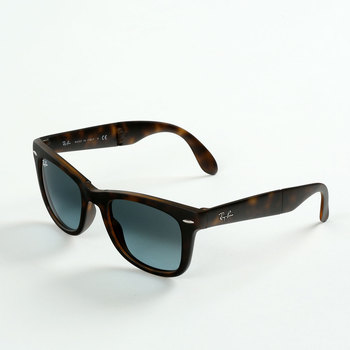 Ray-Ban Tortoise Shell Folding Sunglasses with Dark Blue Lenses, RB4105 894/3M