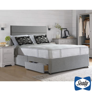 Sealy 1000 Deluxe Pocket Memory Mattress and Divan in Pebble in 4 Sizes