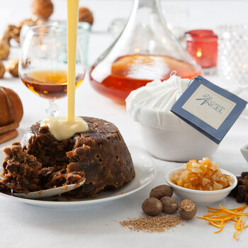 The Carved Angel Traditional Christmas Pudding in Ceramic Basin, 1.65kg (Serves 12-14)