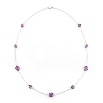 10.00ctw Round Cut Amethyst Necklace, 18ct White Gold