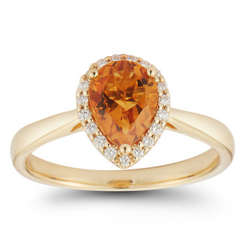 1.00ct Pear Cut Citrine and 0.12ctw Diamond Ring, 18ct Yellow Gold