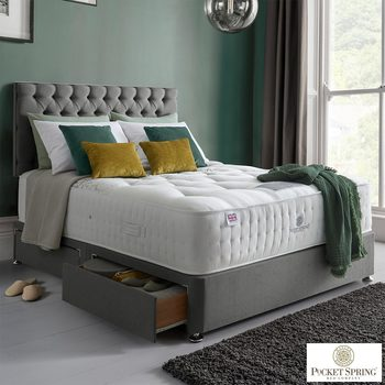 Pocket Spring Bed Company Mulberry Mattress & Grey Divan with 4 Drawers in 3 Sizes
