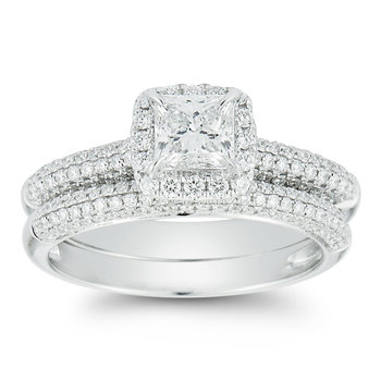 1.40ctw Princess and Round Brilliant Cut Diamond Wedding Ring Set, 18ct White Gold