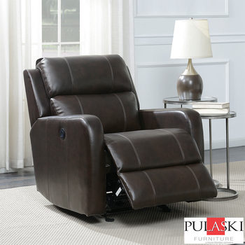 Pulaski Brown Leather Power Glider Recliner Chair