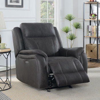 Mstar International Parkwright Brown Fabric Power Glider Recliner Chair