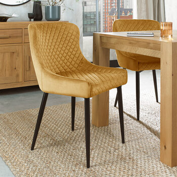 Bentley Designs Mustard Velvet Diamond Stitch Dining Chair, 2 Pack