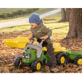 John Deere Tractor Ride On With Front Loader And Trailer