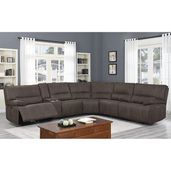 Kuka Parker Fabric Power Reclining Sectional Sofa with Power Headrests