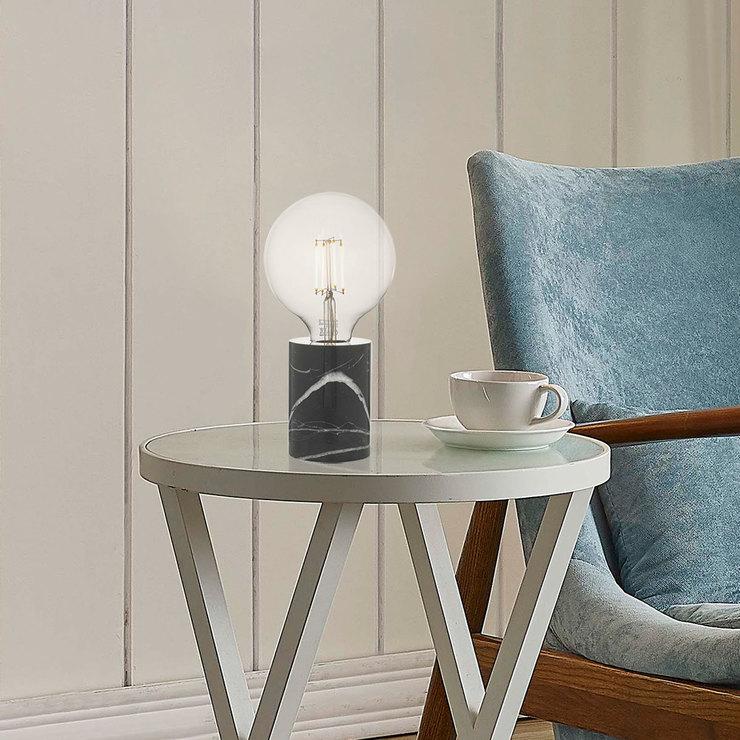 DAR Jaxon Table Lamp Marble & Black