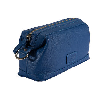 Dents Beauley Pebble Grain Leather Washbag, Royal Blue