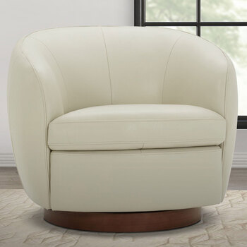 Kuka Light Grey 100% Top Grain Leather Swivel Tub Chair