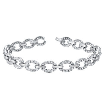 2.42ctw Round Brilliant Cut Diamond Bracelet, 18ct White Gold