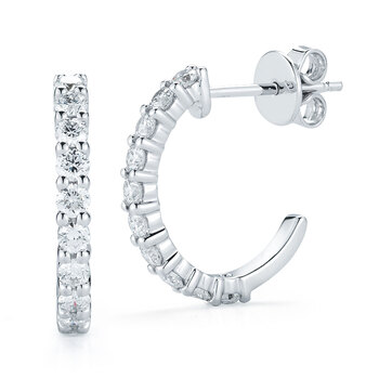 0.60ctw Round Brilliant Cut Diamond Hoop Earrings, 14ct White Gold