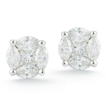 0.50ctw Marquise and Princess Cut Diamond Multi Stone Earrings, 14ct White Gold