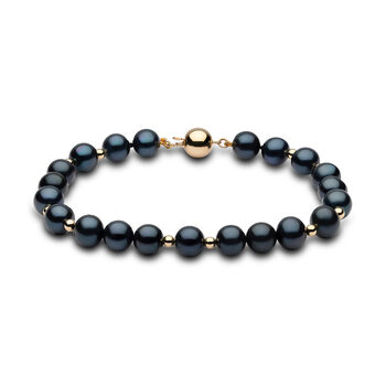 7.5-8mm Cultured Freshwater Black Pearl and Gold Bead Bracelet, 18ct Yellow Gold
