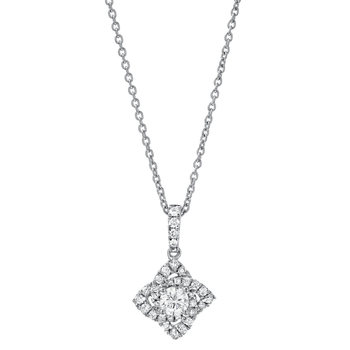 0.38ctw Round Brilliant Cut Diamond Pendant, 18ct White Gold