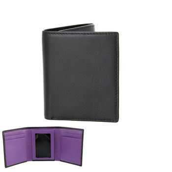 Dents Kensley Trifold Leather Wallet, Black and Amethyst