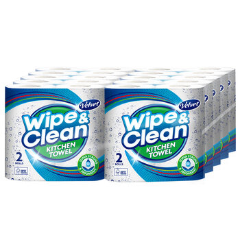 Velvet Wipe and Clean Kitchen Roll Towel, 20 x 75 Sheet Pack