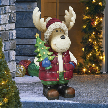 20 Inch (67 cm) Christmas Moose Greeter with LED Lights