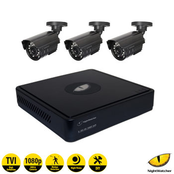 NightWatcher NW-4TV1-1TB-C1080B 4 Channel Digital Video Recorder with 3 x Bullet Cameras