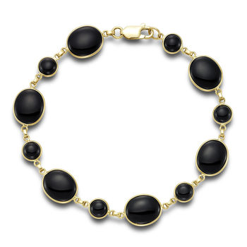 Black Onyx Bracelet, 14ct Yellow Gold