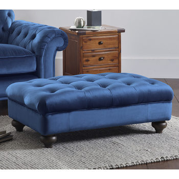 Bordeaux Button Back Velvet Footstool in 4 Colours