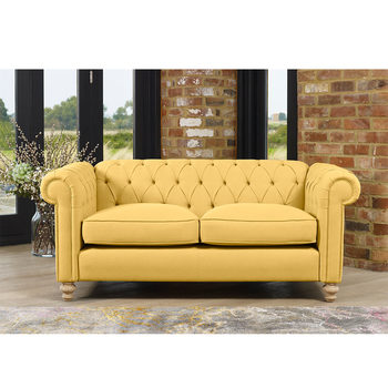 Chesterfield Button Back 2 Seater Fabric Sofa in 5 Colours