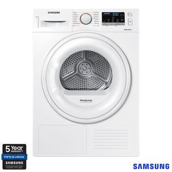 Samsung DV90M50001W/EU, 9kg, HeatPump Tumble Dryer, A++ Rating in White