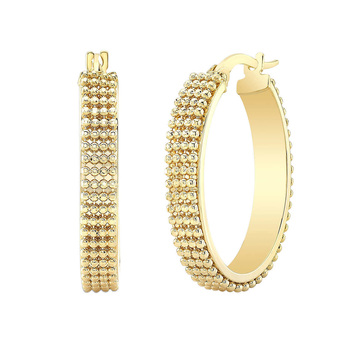 14ct Yellow Gold Beaded Hoop Earrings