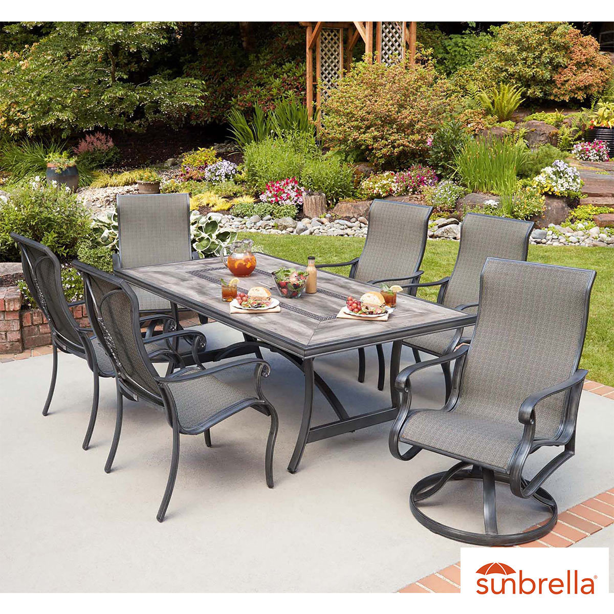 Agio Campbell 12 Piece Sling Dining Set + Cover  Costco UK